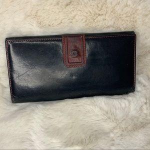 Vintage Gucci Checkbook Wallet Black/ Burnt Red